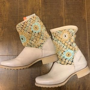 Bunker Leather Crochet Slouchy Boots Free People